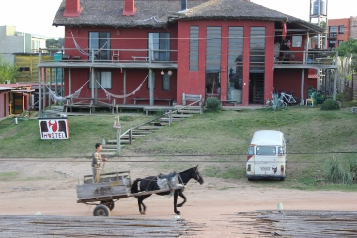 Horse pulled wagon in Punta del Diablo, Uruguay