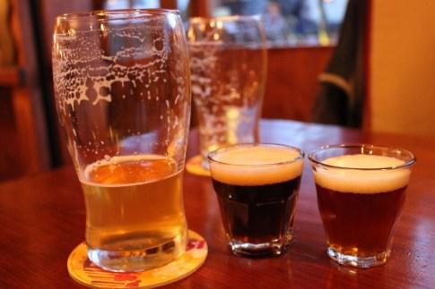 Beers at Der Tiroler craft beer bar in Bariloche, Argentina