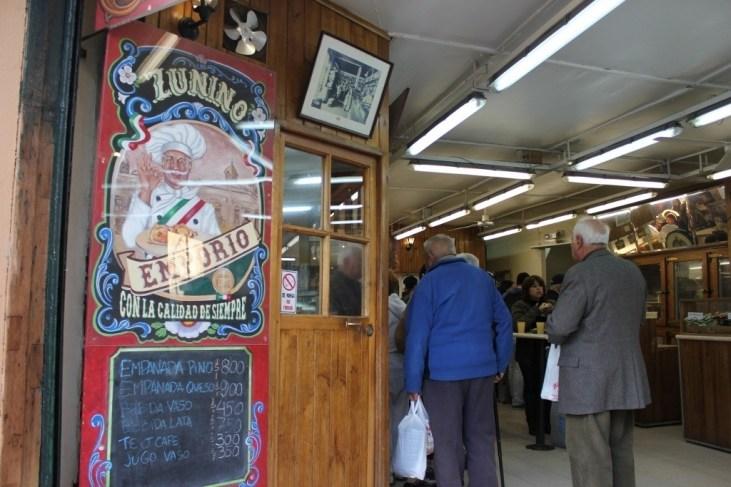Entrance to Zunino Emporio Empanada Shop in Santiago, Chile