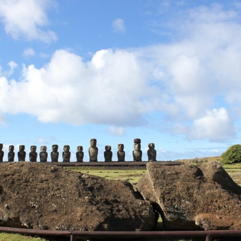 Broken Moai on ground in front of Tongariki Platform in Easter Island