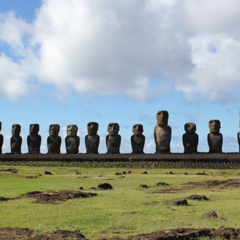 15 Moai stand on Tongariki Platform on Rapa Nui