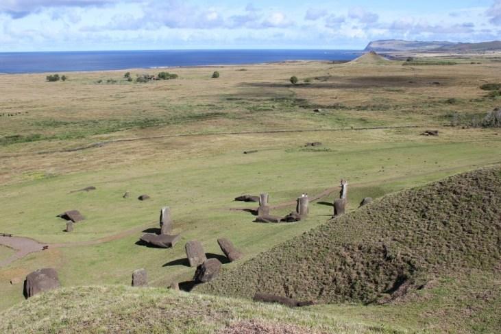 Broken Moai scattered at Rano Raraku in Easter Island