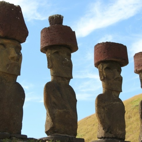 Best-preserved Moai at Anakena on Easter Island