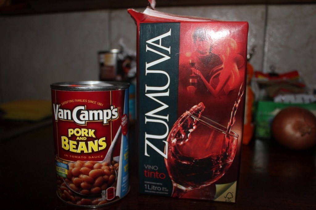 Nothing goes better with canned Pork and Beans than overpriced wine from a carton.