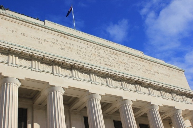 The facade of the Auckland War Memorial Museum in Auckland, NZ