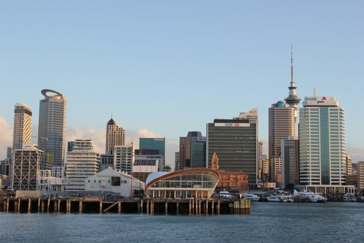 View of the city skyline on the ferry from Auckland to Devonport, NZ