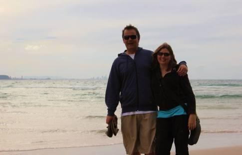 Kris and Sarah at Kirra Beach in Coolangatta, Gold Coast, Australia