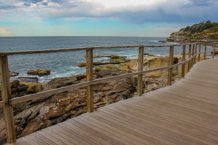 Wooden boardwalk coastal path near Bondi in Sydney, Australia