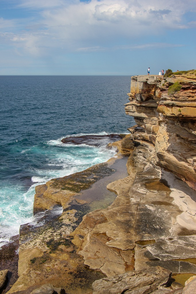 Steep cliffs at Shark Point on Bondi to Coogee Walk in Sydney, Australia