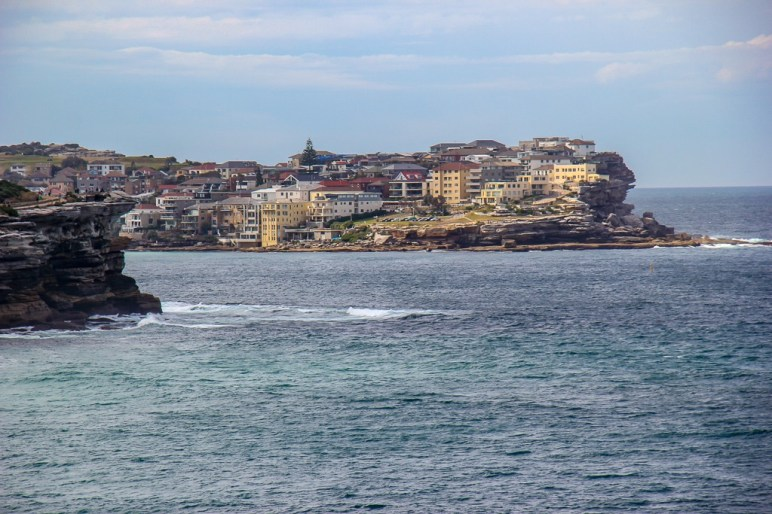 View of Bondi Beach from Shark Point on Bondi to Coogee Walk in Sydney, Australia