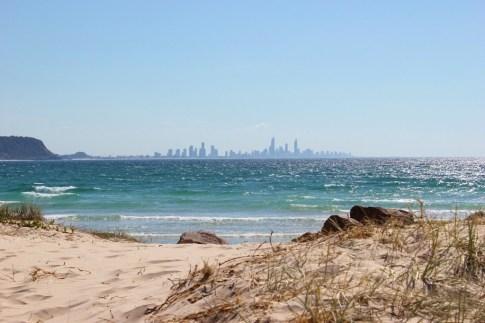 Surfers Paradise skyline from Currumbin, Gold Coast, Australia