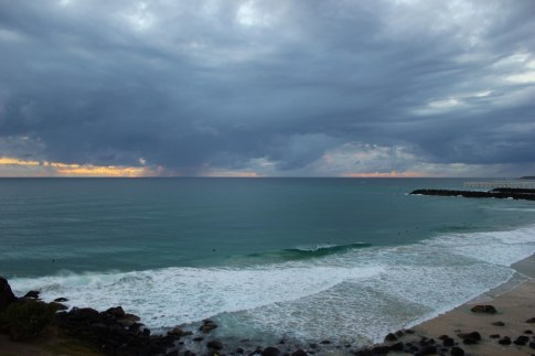 Pale morning sky at sunrise in Coolangatta, Gold Coast, Australia