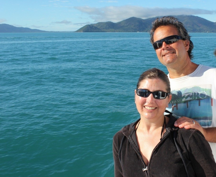 On the boat on an early morning departure for the Great Barrier Reef from Cairns