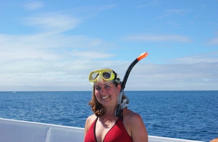 Wearing snorkeling mask on boat ready for Great Barrier Reef Snorkeling