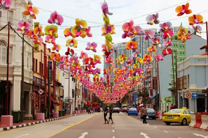 Colorful street decorations for Mid-Autumn Festival in Chinatown, Singapore
