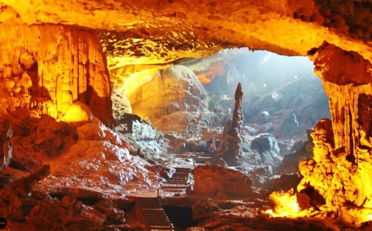 Touring the inside of Amazing Cave on Halong Bay, Vietnam