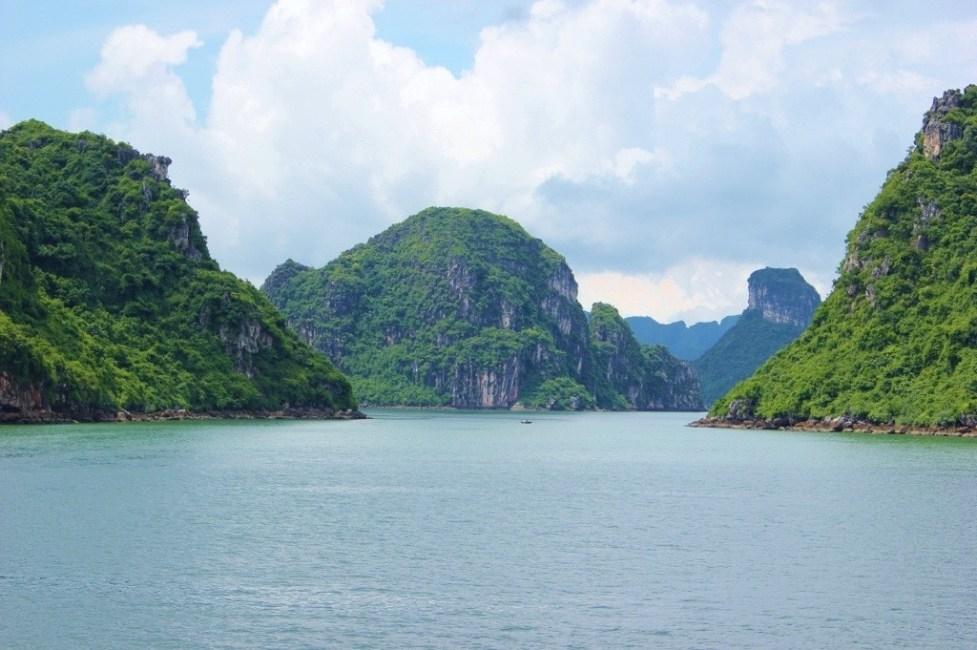 Views of karst mountains in Halong Bay, Vietnam