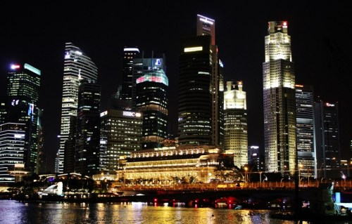 Skyline at night in Marina Bay Singapore
