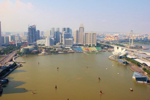 View of Marina Bay Singapore from Level 33 Brewery