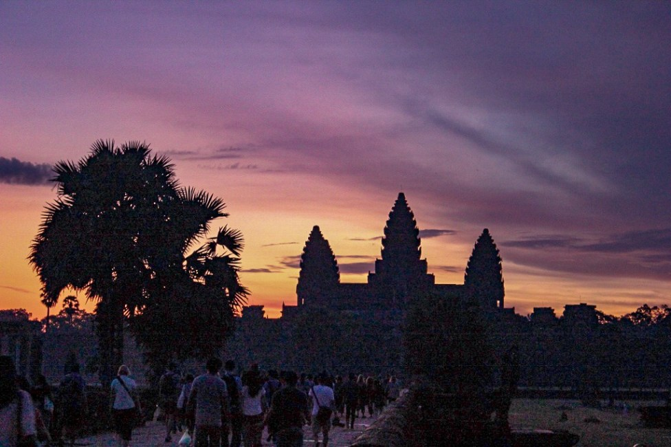 Walking to temple for Angkor Wat Sunrise