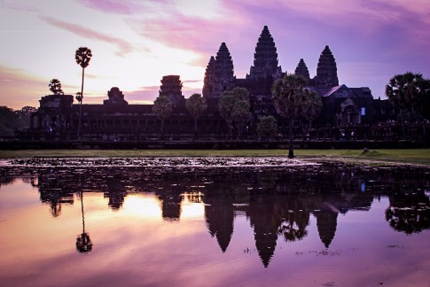 Purple sky reflecting in Left pool at Angkor Wat Sunrise