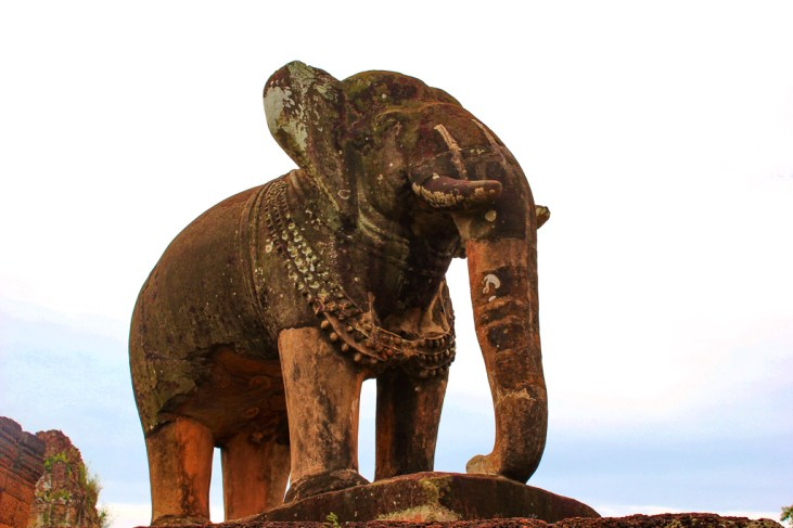 Enormous elephant sculpture at Eastern Mebon at Angkor Park in Siem Reap, Cambodia