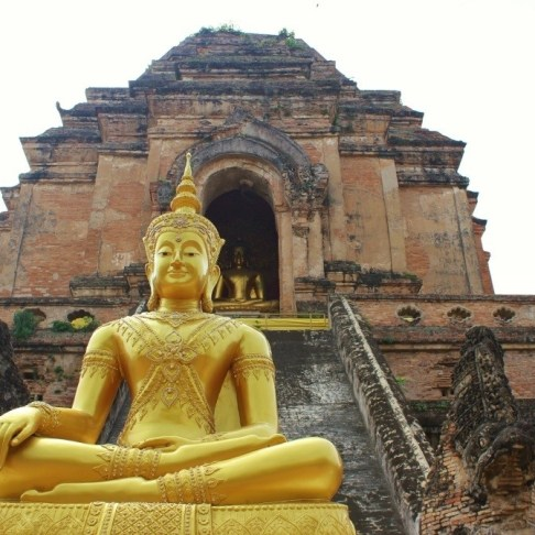 Gold Buddha statue at a Temple in Chiang Mai