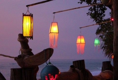 Lanterns hang from beach bar on Klong Khong beach in Koh Lanta, Thailand