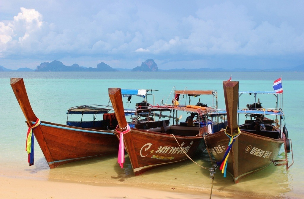 Wooden longtail boats on 4 Island Tour in Koh Lanta, Thailand