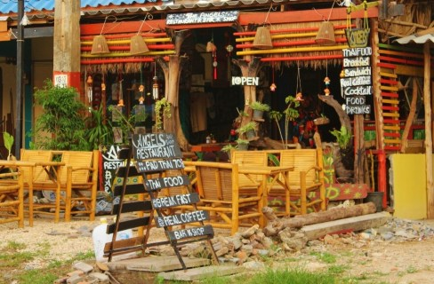 Roadside restaurant on Klong Khong beach in Koh Lanta, Thailand
