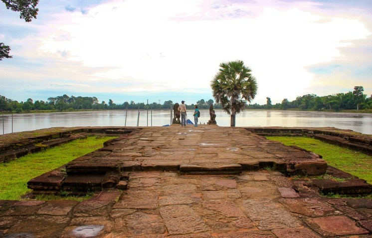 Temple platform at Sra Srang lake at Angkor Park in Siem Reap, Cambodia