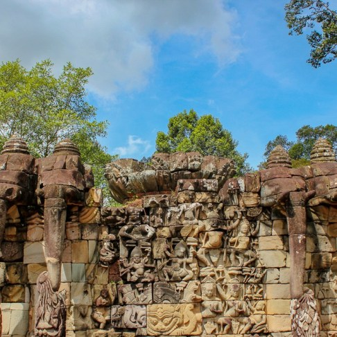 Elephant statues at Terrace of the Elephants in at Angkor Park in Siem Reap, Cambodia