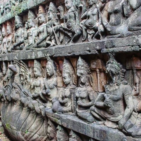Intricate carvings on Terrace of the Leper King at Angkor Park in Siem Reap, Cambodia
