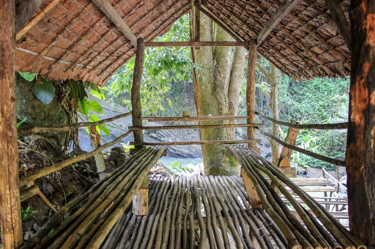 Bamboo wooden hut over river in Chiang Mai, Thailand