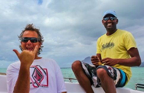 Kris with Captain on Dolphin Boat Trip in Mauritius