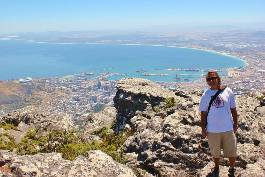 Views from Table Mountain of Cape Town Stadium, V&A Waterfront and Cape Town CBD in South Africa