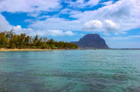 Coastline and Le Morne in Mauritius