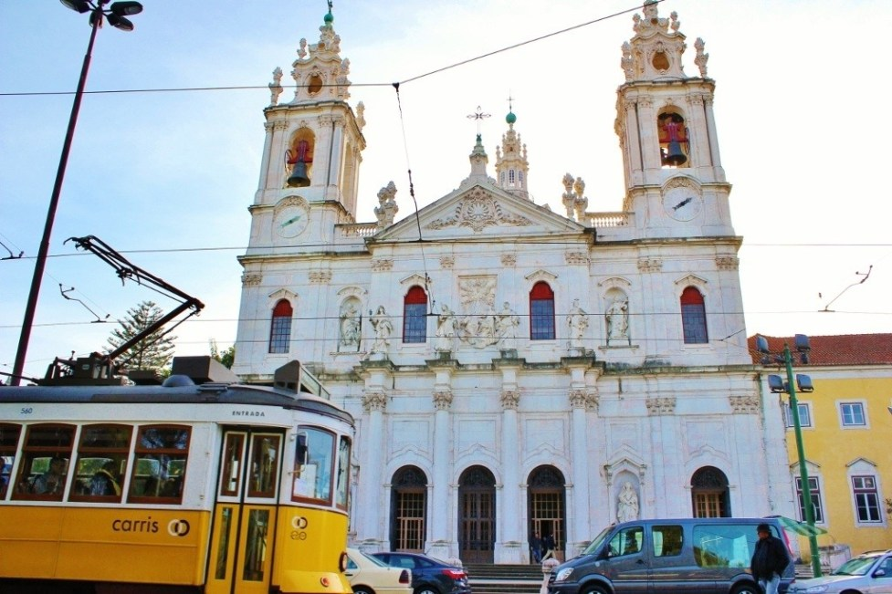 Estrela Basilica and Tram in Lisbon, Portugal