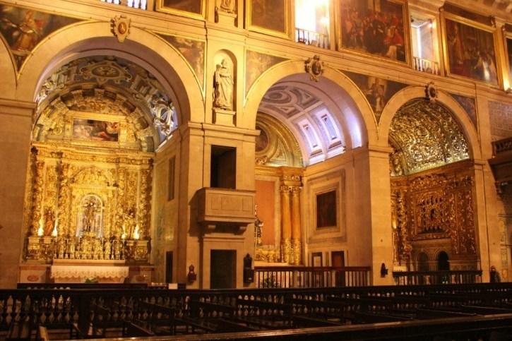 Elaborate side altars at Sao Roque Church in Lisbon, Portugal