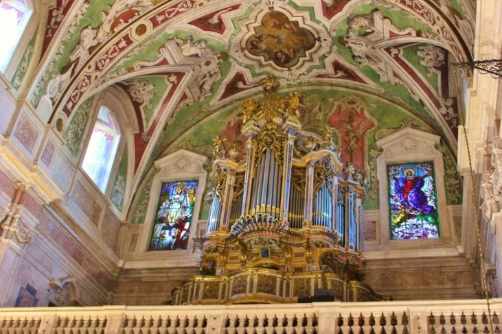Organ and Ceiling at Basilica de Nossa Senhora dos Martires in Lisbon, Portugal