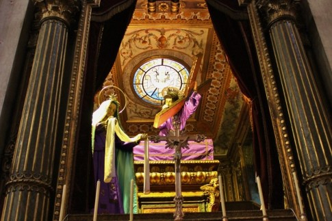 The Senhor dos Passos Christ Statue at Igreja da Graca that is used in processions in Lisbon, Portugal