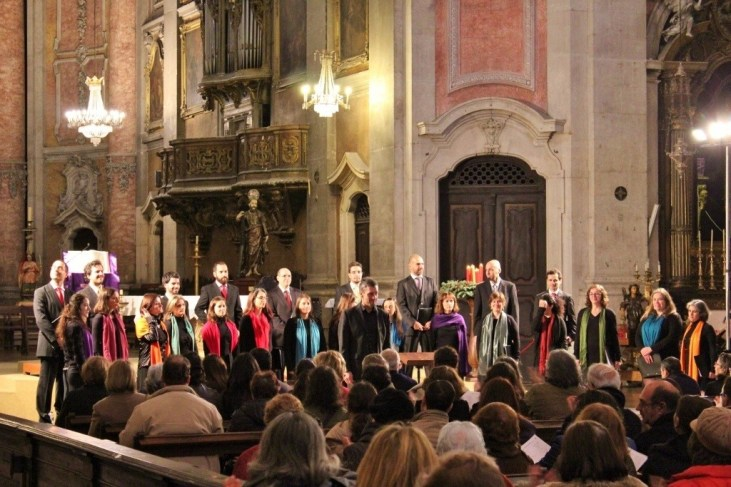 Choir performs at a concert in Igreja da Graca in Lisbon, Portugal