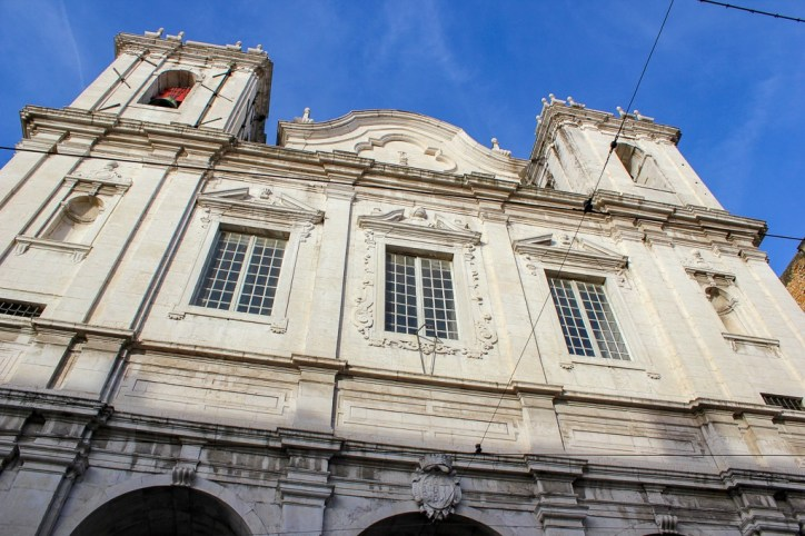 Facade of Santa Catarina Church in Lisbon, Portugal