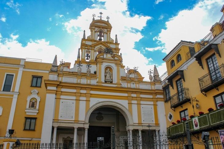 Brights colors of The Basilica de la Macarena, Seville Spain
