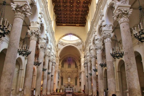 The interior of the Basilica di Santa Croce church in Lecce, Italy