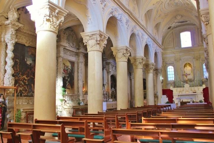 Interior of Chiesa di Santa Maria Degli Angeli in Lecce, Italy
