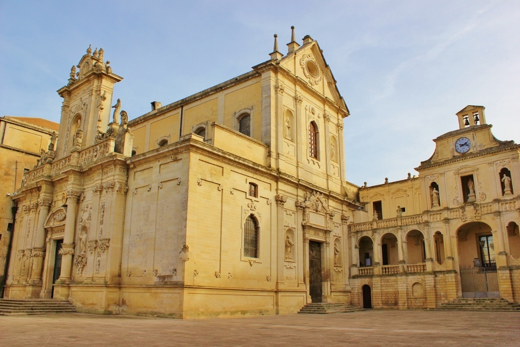 Piazza del Duomo in Lecce, Italy: Duomo - The Cathedral with views of both facades