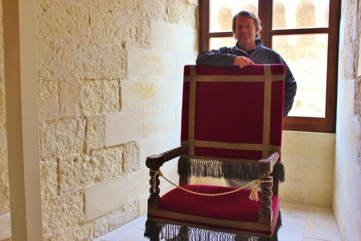 Throne on display at Carlo V Castle in Lecce, Italy