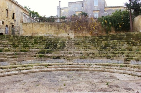 Seating at ancient Roman Theater in Lecce, Italy