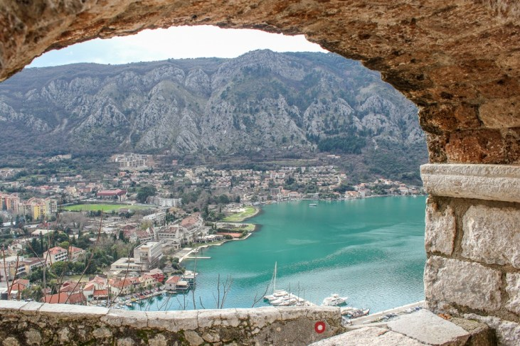 View down to the Bay of Kotor, Montenegro
